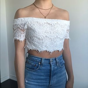 TOPSHOP Petite White Lace Crop Top